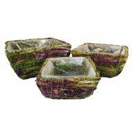 S/3 Purple Birch Grass Basket W/ Liner