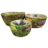 S/3 Round Purple Grass Basket W/ Liner