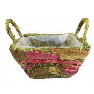 Square Pink Birch Grass Basket W/ Liner