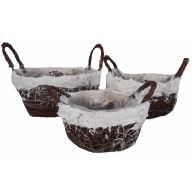 S / 3 Rattan Snow Edge Basket W Liner