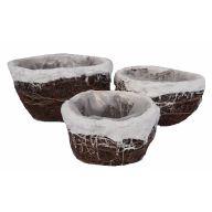 S / 3 Rattan Snow Edge Basket W Liner