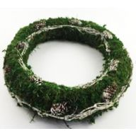 "10"" x 1.97"" Moss Flora Branch & Pinecone Wreath"