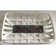 "Rectangular Tobacco Basket 18.5X12X2.5"" w/ Decoration 12X3.25"" - Whitewash w/ ""Bless our home"""