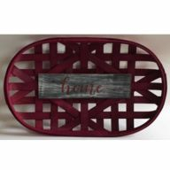 "Oval Tobacco Basket 20X12X2"" w/ Decoration 12X3.25"" - Dark Red w/ ""home"""