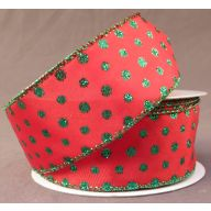 "1.5 "" x 10 yd Wired Red Satin w / Glitter Emerald Dots"