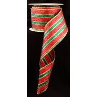 "2.5 "" x 10 yd Wired Metallic Stripe - Red / Emerald / Gold"