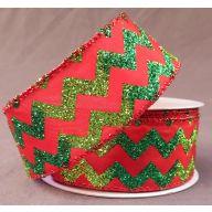 "1.5 "" x 10 yd Wired Red Satin w / Lime Emerald Glitter Chevron"