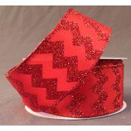 """1.5 """" x 10 yd Wired Satin Glitter Chevron - Red / Red Glitter"""