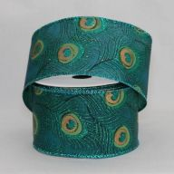 "2.5 "" x 10 yd Wired Satin Peacock Ribbon"
