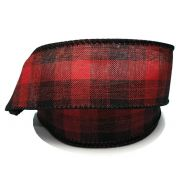 "1.5 "" x 10 yd Wired Plaid - Black / Red"