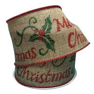 "2.5 "" x 10 yd "" Merry Christmas "" Stitch w / Holly - Natural / Red / Emerald"
