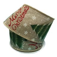 """2.5 """" x 10 yd """" Merry Christmas """" Tree - Natural / Green / Red"""