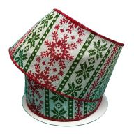 """2.5 """" x 10 yd Sweater Snowflake - Red / Moss / White"""