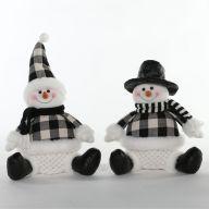 Plush Black / White Sitting Snowman