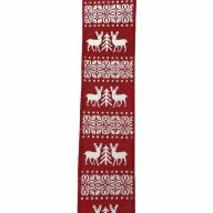 """1.5"""" X 10yd Wired Deer / Tree / Print Ribbon - Red / White"""