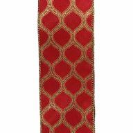 "2.5"" X 10yd Wired Lattice Print Ribbon - Red / Gold"