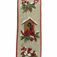 """2.5"""" X 10yd Wired Cardinal / Birdhouse / Holly Ribbon - Natural / Red / Green / White / Gold"""