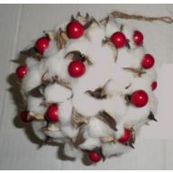 "6.5 "" Polyester Cotton Ball With Red Berries"