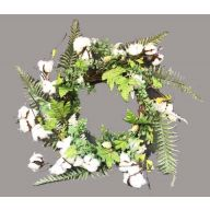 "18 "" Polyester Cotton Wreath w / Greenery & Berries"