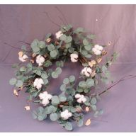 "18 "" Polyester Cotton Wreath w / Greenery & Twigs"