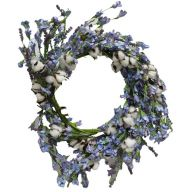 "20"" Polyester Cotton Wreath w/ Purple Flowers"