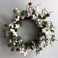 "24"" Polyester Cotton Wreath W/Leaves"