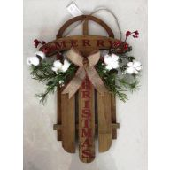 "21"" Sleigh/Polyester Cotton Stem ""Merry Christmas"""