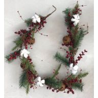 5' Christmas Garland W/Polyester Cotton, Berries