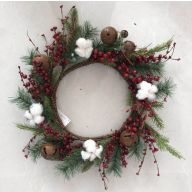 "22"" Christmas PVC Wreath W/Polyester Cotton Berries"