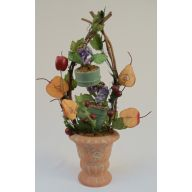 "22"" FRUIT BUCKET TOPIARY IN POT"
