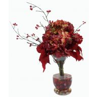"24"" POINSETTIA HYDRANGEA PINE BERRIES CLEAR GLASS VASE W/ LIQUID ILLUSION"