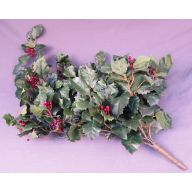 X 9 Green Holly Leaf Mix Bush w / 198 Leaves & Berries