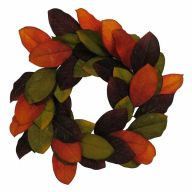 "22"" Magnolia Wreath - Orange / Burgundy / Brown"