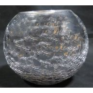 "6 x 5 "" Round Glass Bubble Ball - Silver"