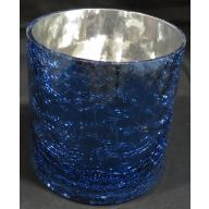 "5 x 5 "" Round Crackle Vase w / Blue  Outside"