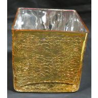 "5 x 5 x 5 "" Cube Glass Vase - Gold (SHIPS BY PALLET ONLY)"