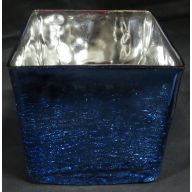 "5 x 5 x 5 "" Glass Cube Vase - Blue (SHIPS BY PALLET ONLY)"