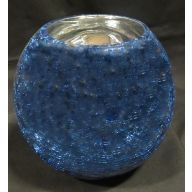 "7.25 x 6.25 "" Round Bubble Ball Crackle w / Blue  Outside"