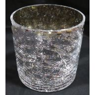 "5 x 5 "" Round Crackle Vase w / Silver Crackle (SHIPS BY PALLET ONLY)"
