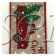 """2.5 """" x 50 yd Wired Natural Linen Merry Christmas Truck"""