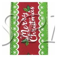 "2.5 "" X 50 yd Wired Whimsy Lime Red Christmas"