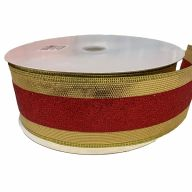 "2.5"" X 50yd Wired Tri Striped Ribbon - Gold / Red / Gold"