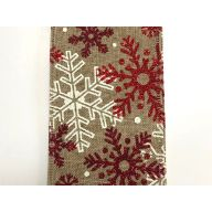 50 yd Natural Linen w / Snowflakes - Natural / Red / White