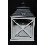 """Set Of 2 Wood And Metal Lantern L - 12.5 X 7 X 20.5 """" , S 8.75 X 5 X 12.5 """" - White (SHIPS BY PALLET ONLY)"""