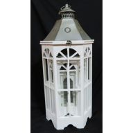 """Set Of 3 Wood And Metal Lantern L - 15.75 X 13.5 X 35.5 """"  S - 8.75 X 7.75 X 17 """" - White (SHIPS BY PALLET ONLY)"""