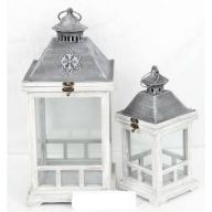 S / 2 Wood & Metal Lantern (SHIPS BY PALLET ONLY)
