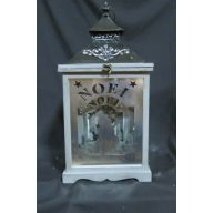 "Set Of 3 Wood And Metal Lantern L - 12 X 12 X 24 "" , S - 6.75 X 6.75 X 14 "" - Cream (SHIPS BY PALLET ONLY)"
