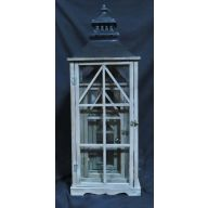 "Set Of 3 Wood And Metal Lantern L - 12.5 X 12.5 X 35.75 "" , S - 7 X 7 X 17.5 "" - Stained (SHIPS BY PALLET ONLY)"