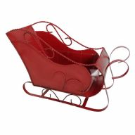 "14"" X 5.5"" X 9"" Metal Sleigh w/ Hard Liner - Red"