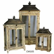 "Set Of 3 Wood And Metal Lantern 19.75 X 11.5 X 44"" - Natural (SHIPS BY PALLET ONLY)"
